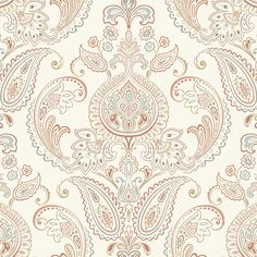 Gorgeous white/terra cotta/caramel paisleys wallcovering by York. Item ND7075. Save big on York wallpaper. Free shipping! Search thousands of patterns. Width 27 inches. Swatches available.
