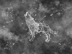 abstract wolf wallpaper removable fabric constellation symbol wall decor dark sky wall paper bedroom wall art livingroom wall mural