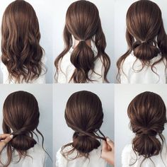 """L'ANGE HAIR's Instagram photo: """"Loving this step by step low bun style! Would you try this look?"""" Bun Hairstyles For Long Hair, Work Hairstyles, Easy Updos For Medium Hair, Simple Hairstyles, Hair Up Styles, Medium Hair Styles, Aesthetic Hair, Hair Videos, Hair Hacks"""
