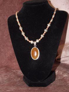 Honey Onyx Pendant Silver Salmon Jade Beaded by BlackBearsBazaar, $43.00