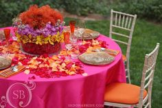 pink, red and orange table