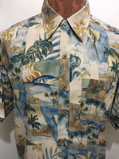 Tommy Bahama Mens M Blue Dolphins Palm Trees Hawaiian Silk Shirt Islands Ocean #TommyBahama #Hawaiian