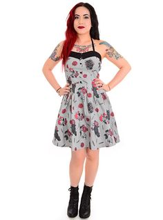 Spooksville Nevermore Ravens Dress $54.00 AT vintagedancer.com #halloween