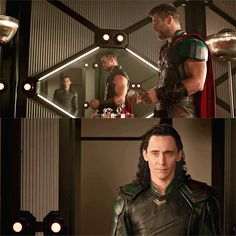 """I'm here."" — #Loki, #ThorRagnarok. #TomHiddleston #Thor #ChrisHemsworth"