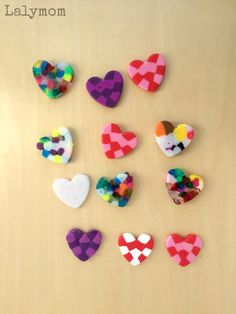 Valentine craft - melted pony bead craft - homemade magnets - heart beads craft