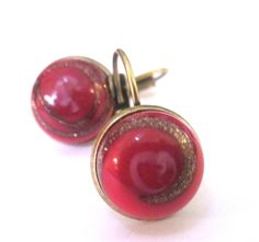 Vintage glass button earrings, red glass with gold