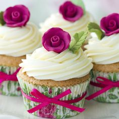 Photo about Cupcakes decorated with pink sugar roses. Image of iced, cupcakes, cake - 12961142 Fondant Cupcakes, Yummy Cupcakes, Cupcake Cookies, Rosette Cupcakes, Floral Cupcakes, Party Cupcakes, Cupcakes Decorados, How To Make Cupcakes, Rose Cupcake