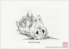 Eevee  5 x 7 print pokemon drawing art artwork by DrawingsofHeroes, $9.00