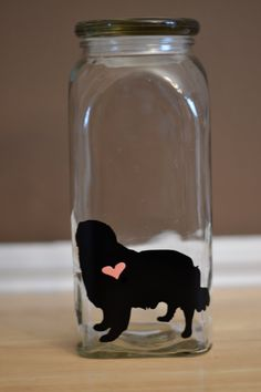 Golden Retriever Silhouette Dog Jar with Heart by maggieandminnie