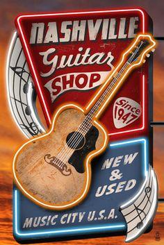 Branson, Missouri - Acoustic Guitar Music Shop - Lantern Press Artwork (Art Print Available) Samba, Vintage Signs, Vintage Posters, Vintage Ads, Vintage Prints, Home Music, Branson Missouri, Guitar Shop, Guitar Rack