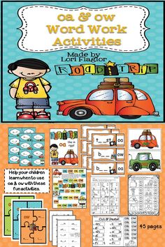 Take your kids on a road trip while learning about oa & ow. 5 learning centers and 5 worksheets included in this engaging product.