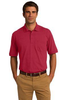Port & Company 5.5-Ounce Jersey Knit Pocket Polo. KP55P Red