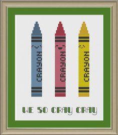 We so cray cray: funny crayon cross-stitch pattern. $3.00, via Etsy.