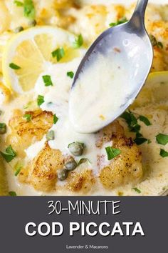 This Easy Cod Piccata makes an easy dinner recipe your family will love.- This Easy Cod Piccata makes an easy dinner recipe your family will love. Piccata sauce is briny, creamy and so good! One of the best dinner recipes. Cod Fillet Recipes, Cod Fish Recipes, Seafood Recipes, Vegetarian Recipes, Cooking Recipes, Healthy Recipes, Easy Cod Recipes, Seafood Appetizers, Baked Cod Recipes