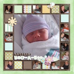 GREAT way to use smaller / further away pictures of family that visited baby! Love the little squares all the way around babys pic! - http://www.beautifuldiy.net/great-way-to-use-smaller-further-away-pictures-of-family-that-visited-baby-love-the-little-squares-all-the-way-around-babys-pic