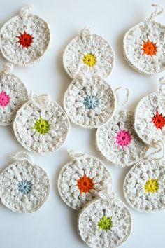 Dainty and delicate crocheted Snowflower Ornaments will look lovely on your tree. (From the purl bee)