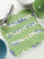 Bands of Lace  free crochet dishcloth pattern