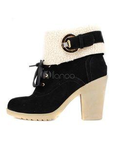 874bc601b5e Grace Black Chunky Heel Suede Leather Woman s High Heel Booties
