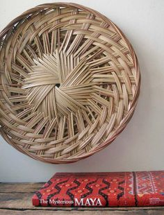 Woven Basket Wall Decor mid century woven round basket tray wall hanging | trays, mid