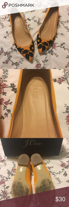 J. Crew Embroidered Grosgrain Flats size 9 Beautiful J. Crew grosgrain golden yellow pointed flats with black embroidery. Never worn reposh. J. Crew Shoes Flats & Loafers