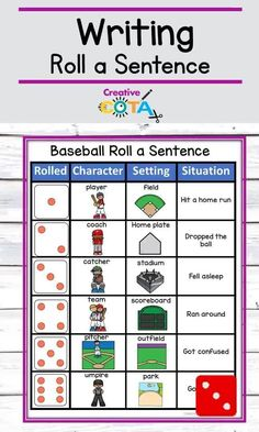 Engage even reluctant writers with these baseball roll a sentence or story activities. Great for writing centers, work stations, rotations, early finishers, small groups, special education, or school-based occupational therapy ideas. Share with students digitally for teletherapy, OT telehealth sessions or classroom meets. Great remote or distance learning activity to practice sentence structure. Kids work on fine motor skills Small Group Activities, Writing Activities, Writing Skills, Writing Centers, Math Centers, Writing Lessons, Educational Activities, Classroom Activities, Classroom Decor