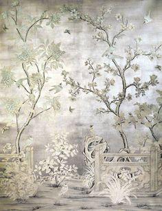 爱 Chinoiserie? Mai Qui! 爱 home decor in chinoiserie style - mural over silver leaf