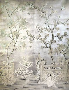 Chinoiserie mural over silver leaf