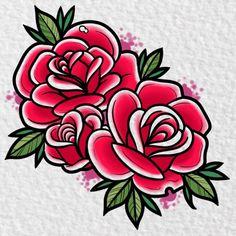 Girly Tattoos, Leg Tattoos, Sleeve Tattoos, Cool Tattoos, Traditional Tattoo Flowers, Traditional Roses, Neo Traditional Tattoo, Traditional Tattoo Drawings, 16 Tattoo