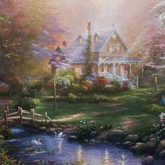 """""""A Mother's Prefect Day"""" 14x14 gallery wrap FREE with $350 Thomas Kinkade purchase now thru Mother's Day."""