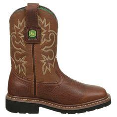 John Deere Kids' Pull On Cowboy Boot Toddler/Preschool Shoes (Mesquite/Brown)