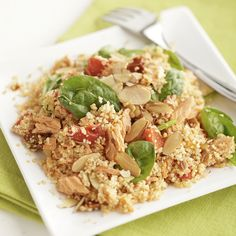 Salmon is tossed with couscous, spinach, and roasted red peppers, then topped with toasted almonds for a light and easy meal that's ready in less than 30 minutes. Hotdish Recipes, Healthy Casserole Recipes, Healthy Recipes, Healthy Food, Light And Easy Meals, Best Casseroles, Couscous, Salmon Salad, Easy Weeknight Dinners