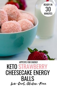Low-Carb Strawberry Cheesecake Energy Balls These Strawberry Cheesecake Keto Energy Balls are a delicious low-carb snack, awesome for kids parties or as an after dinner treat. Only 20 minutes to prep! Great for ketogenic and gluten-free diets # Keto Friendly Desserts, Low Carb Desserts, Low Carb Recipes, Dessert Recipes, Healthy Recipes, Cheese Recipes, Potato Recipes, Healthy Desserts, Lunch Recipes