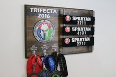 Personalized Spartan Trifecta Medal Display by RJSignShop