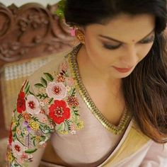 The COO of RED FM Shows How To Nail Formal Saree Style! - - Want to know how to style your formal sarees in the most perfect way? Do check out COO of RED FM, Nisha Narayan to style sarees. Blouse Back Neck Designs, Best Blouse Designs, Silk Saree Blouse Designs, Saree Blouse Patterns, Bridal Blouse Designs, Designer Saree Blouses, Golden Blouse Designs, Lehenga Blouse, Saree Dress
