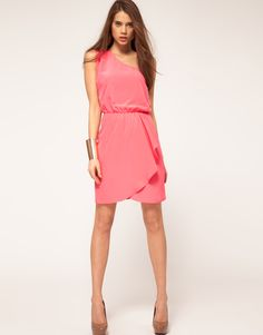 ASOS One Shoulder Dress With Wrap Skirt...could see with a different shade of pink sash around the waist