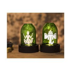Set of Tea light holders for Diwali. Recycled from glass bottles. Diwali Gifts, Tea Light Holder, Ganesh, Glass Bottles, Tea Lights, Snow Globes, Recycling, Home Decor, Decoration Home