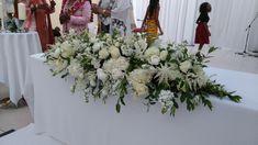 top table arrangement, white wedding flowers, long and low Wedding Reception Flowers, White Wedding Flowers, Table Arrangements, Table Decorations, Top, Home Decor, Desk Arrangements, Decoration Home, Interior Design