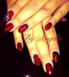 #red #dark #black #silver #rhinestones #oval #nail #art #christmas #design