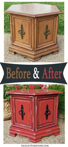 Hexagon End Table in distressed Blazing Orange and Black Glaze, with original vintage pulls painted black. Read more on the Before & After on Facelift Furniture's DIY blog.