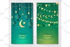 Selamat Hari Raya vertical greeting cards by kotoffei on @creativemarket