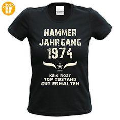 Damen Girlie Kurzarm Jahreszahl Sprüche T-Shirt :-: Geburtstagsgeschenk Geschenkidee für Frauen zum 43. Geburtstag :-: Hammer Jahrgang 1974 :-: Jahrgangs-Aufdruck :-: Farbe: schwarz Gr: L (*Partner-Link)