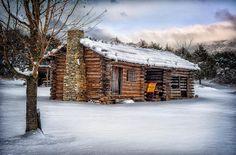 Blue Ridge Cabin in the Snow, Wilderness Road Virginia