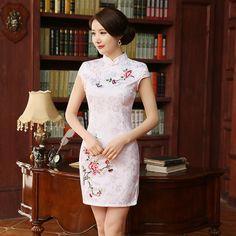 2017 New Summer Chinese Dress  Vestido Chinese Traditional Dress White Print Short Sleeve Cheongsam Evening Dresses #Affiliate
