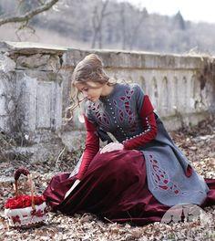 Little Red Riding Hood Coat Costume; woolen gray coat; fairy tale costume; riding hood costume
