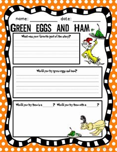 Green Eggs & Ham printables (FREE) dr seuss activities for kids {weekend links} from HowToHomeschoolMyChild.com