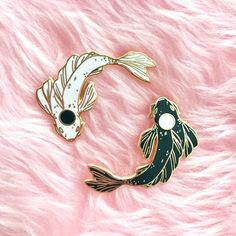 This listing is for the hard enamel YinYang Koi set!Add a little balance to your life with these Yin-Yang Kois!Perfectly fitted together, they will love to Yin Yang, Koi, Jacket Pins, Victorian Dollhouse, Cool Pins, Pin And Patches, Dark Fashion, Latex Fashion, Baby Outfits
