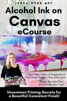 Are you ready to make your alcohol ink paintings more beautiful and valuable?Hi! I'm Jenna I've specialized in large alcohol inks on canvas for 3+ years. In my Alcohol Ink on Canvas Course, learn my secret weapons on how to prime canvas for alcohol ink painting, my tricks to make the ink flow better on canvas and much more!  #alcoholinkoncanvas #alcoholinktutorial #alcoholinkart #alocholinktutorial alcohol ink on canvas, alcohol ink course, alcohol ink techniques tutorial, painting tutorial