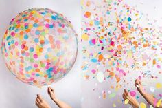 Throw confetti and not at a wedding. Confetti balloon / Mollie Makes Clear Balloons With Confetti, Diy Confetti, Round Balloons, Wedding Confetti, Diy Décoration, Deco Table, Latex Balloons, Unicorn Party, Party Time