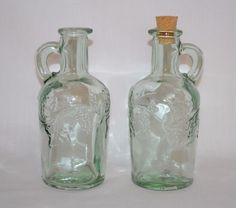 PFALTZGRAFF Glass OIL & VINEGAR Bottles Decanters Grapes Leaf  ~ Made in Spain #Pfaltzgraff