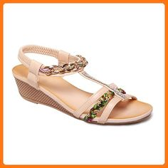 La Modeuse, Damen Sandalen , beige - beige - Größe: 38 EU (*Partner Link)